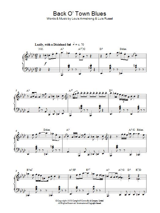 Back O' Town Blues sheet music