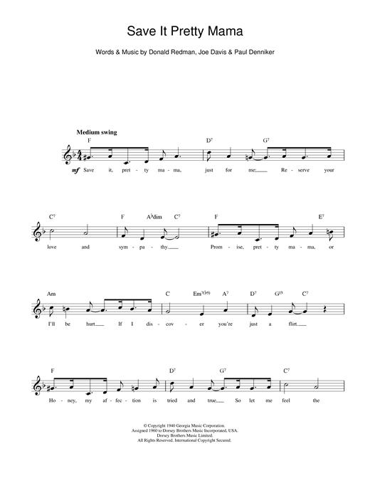 Save It Pretty Mama sheet music