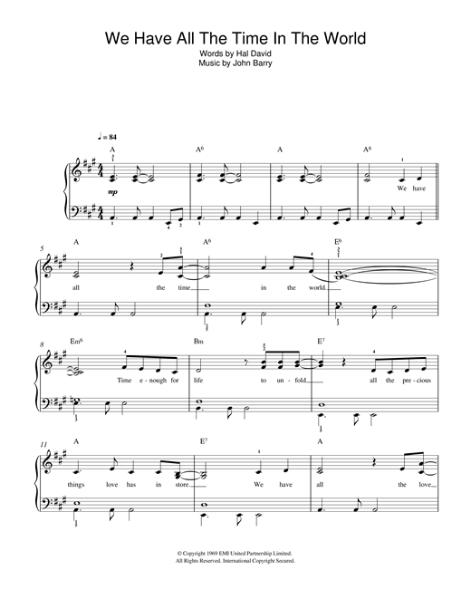 We Have All The Time In The World sheet music