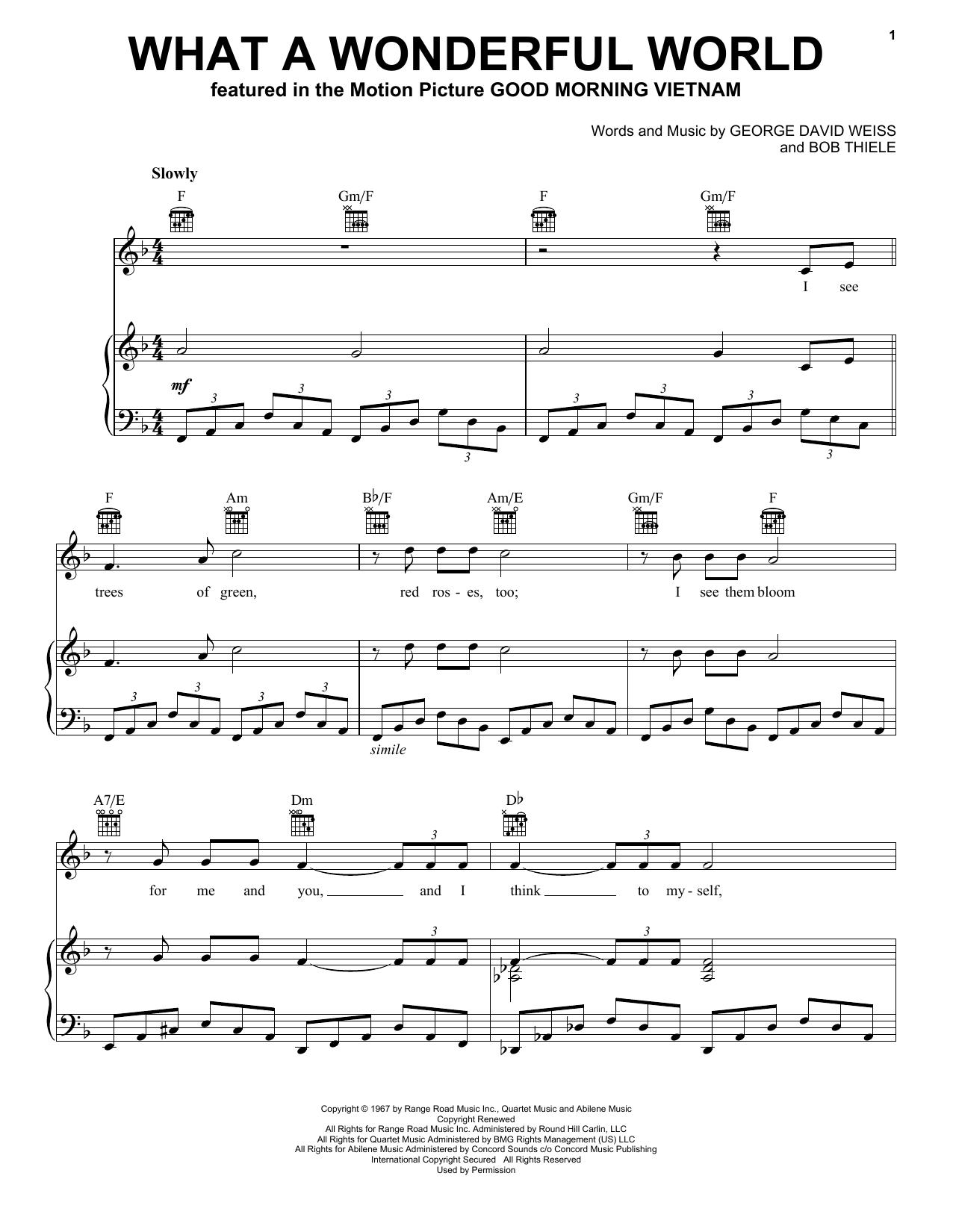 What A Wonderful World sheet music