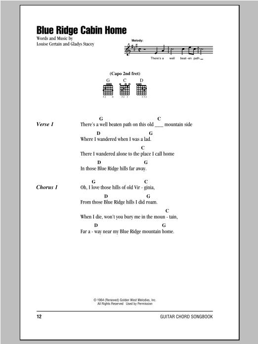 Blue Ridge Cabin Home sheet music