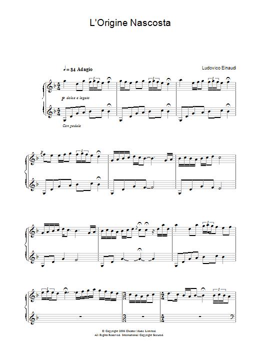 L'Origine Nascosta sheet music