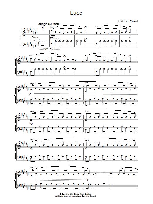 Luce sheet music