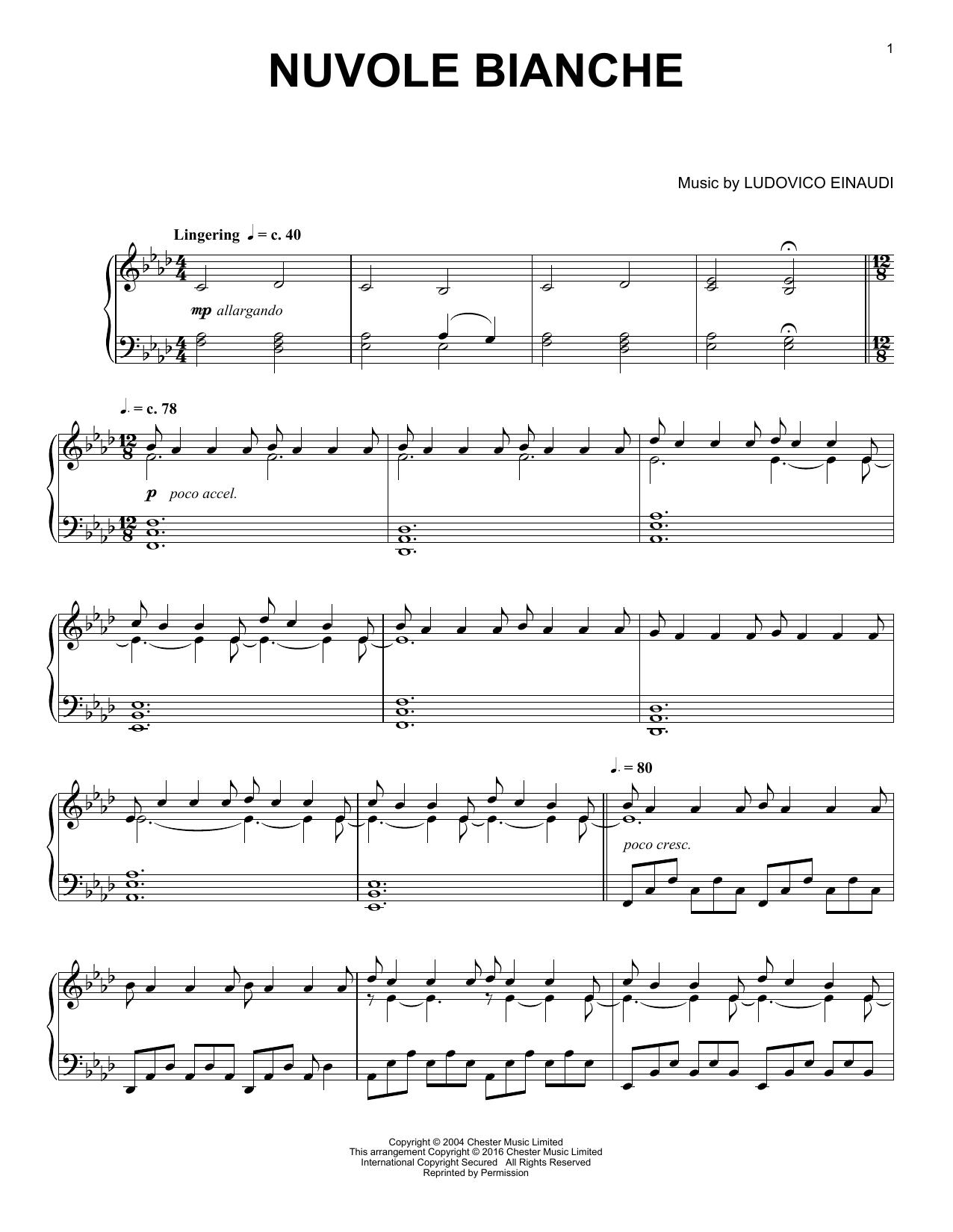 Nuvole Bianche sheet music