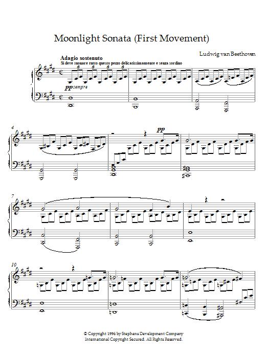 Moonlight Sonata, First Movement, Op. 27, No. 2 sheet music