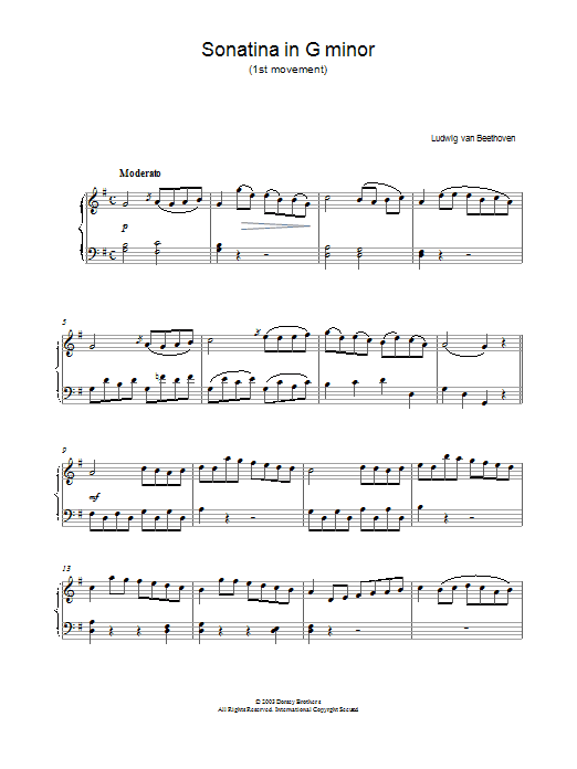 Sonatina In G First Movement sheet music