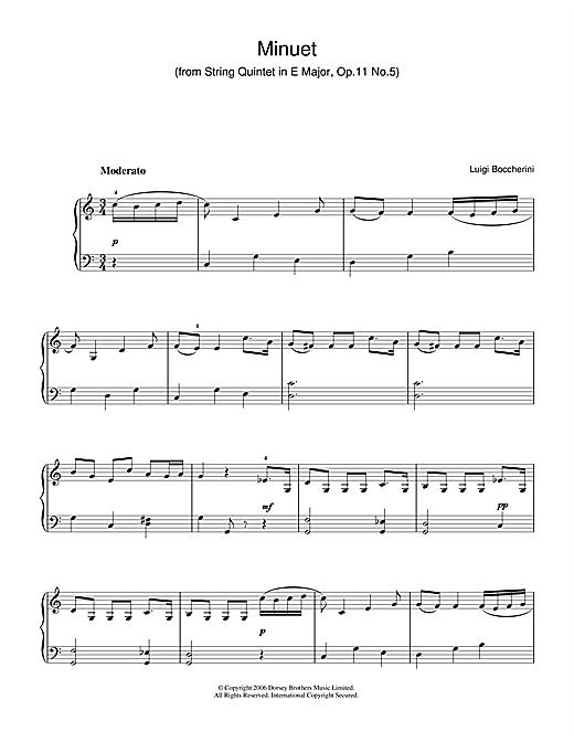 Minuet (from String Quintet in E Major, Op.11 No.5) sheet music