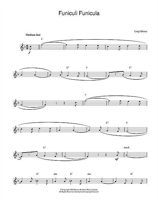 Funiculi, Funicula sheet music