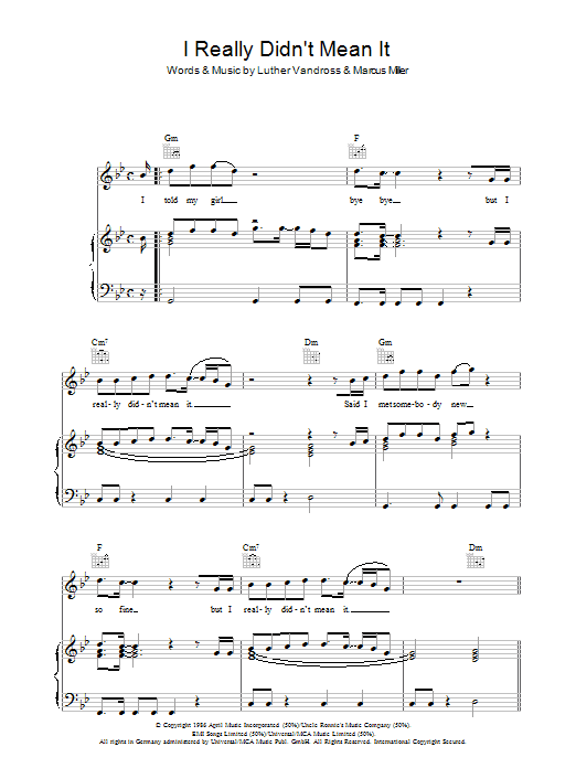 I Really Didn't Mean It sheet music