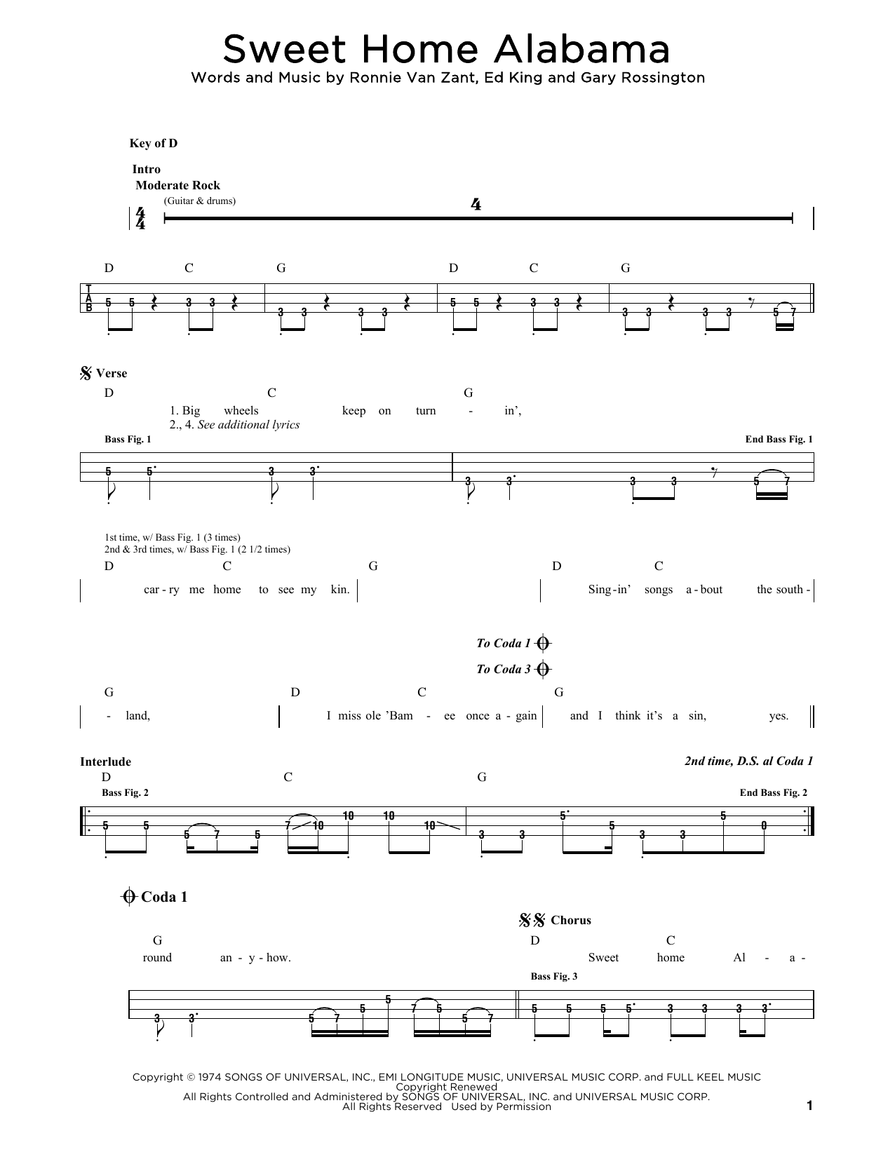 Sweet Home Alabama sheet music