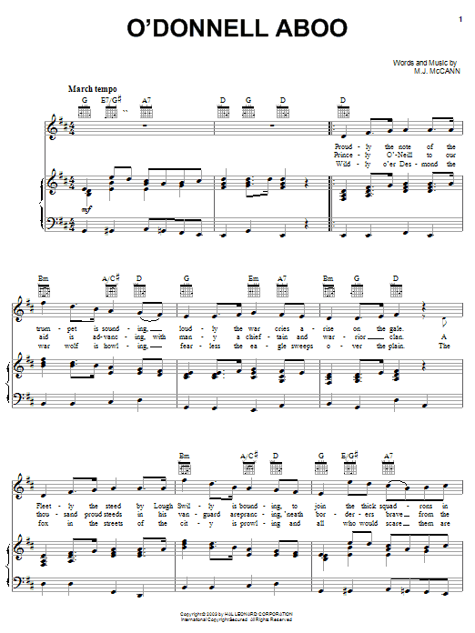 O'Donnell Aboo sheet music