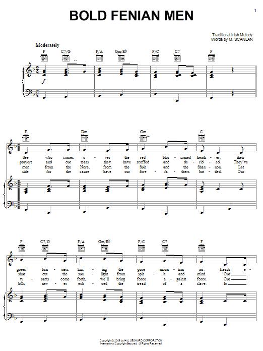Bold Fenian Men sheet music
