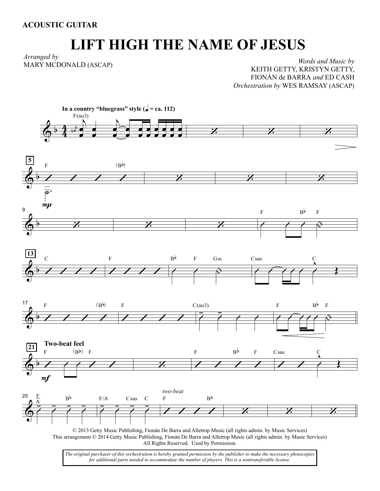 Lift High the Name of Jesus - Acoustic Guitar sheet music