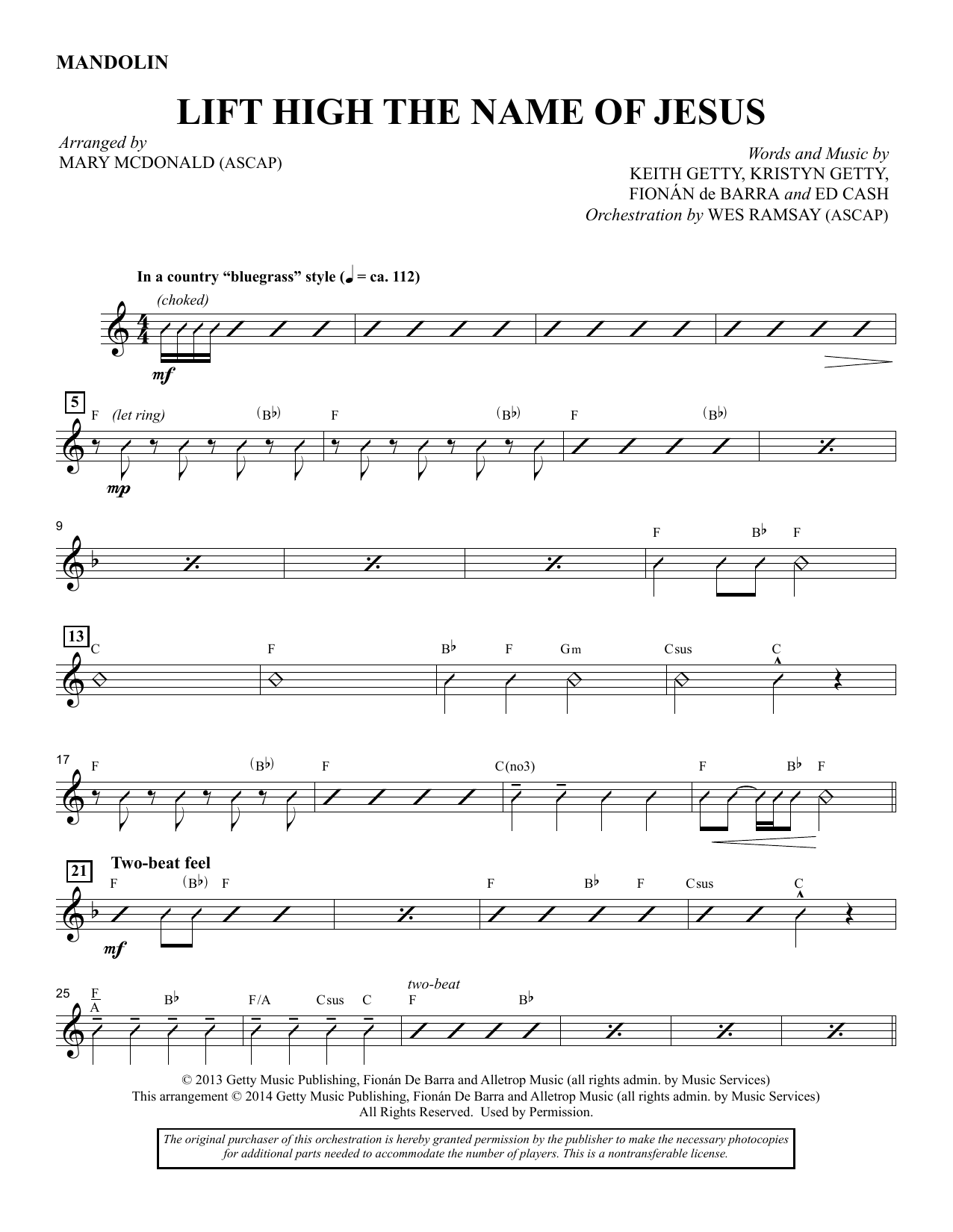 Lift High the Name of Jesus - Mandolin/Acoustic Guitar sheet music