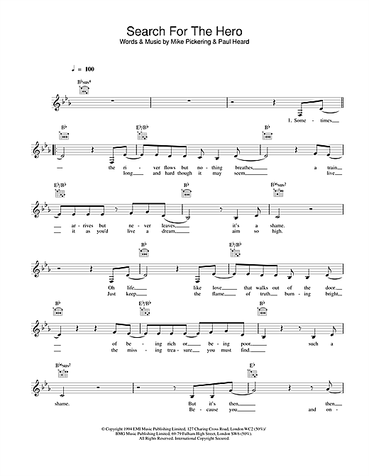 Search For The Hero sheet music