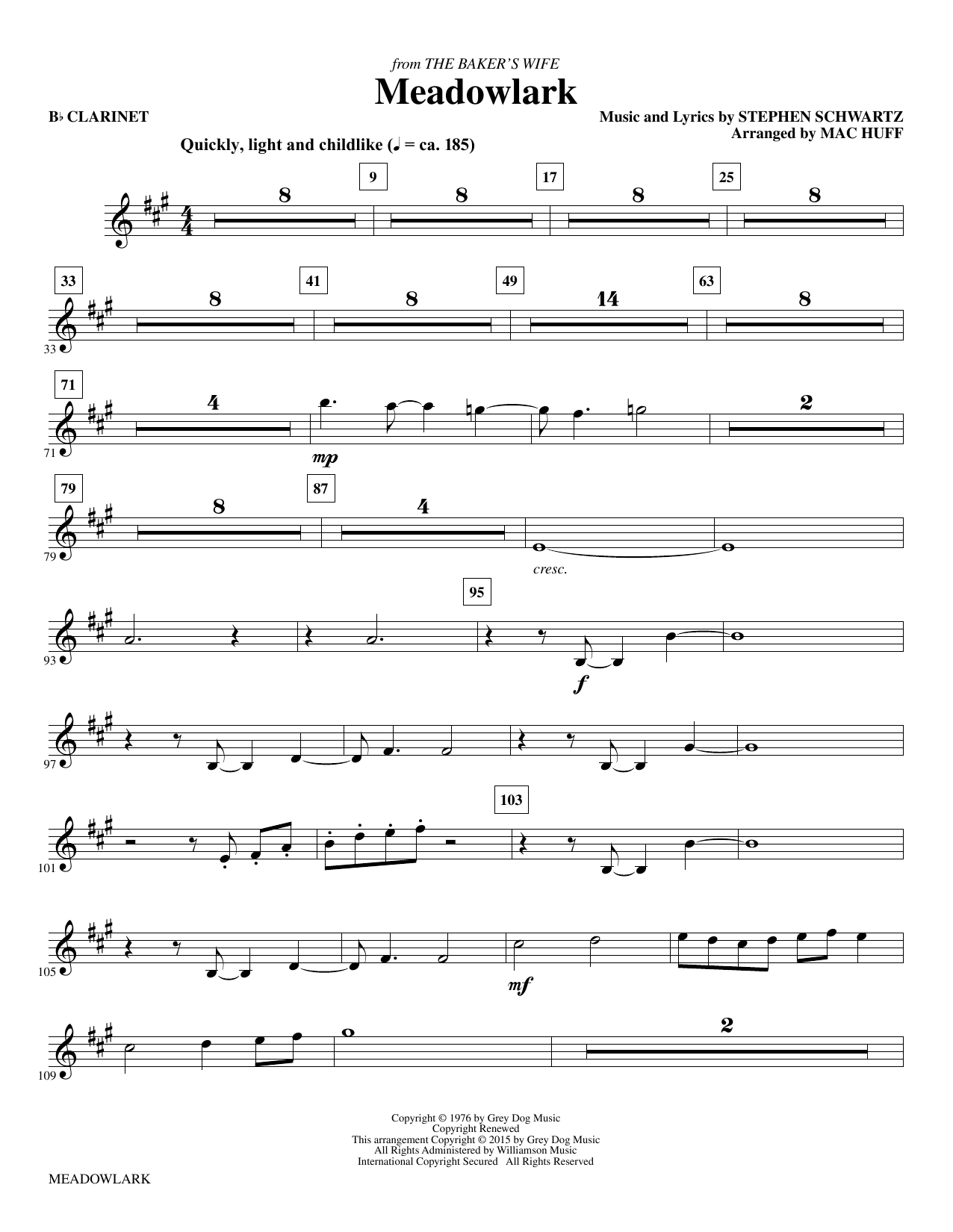 Meadowlark - Bb Clarinet sheet music