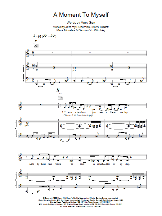 A Moment To Myself sheet music
