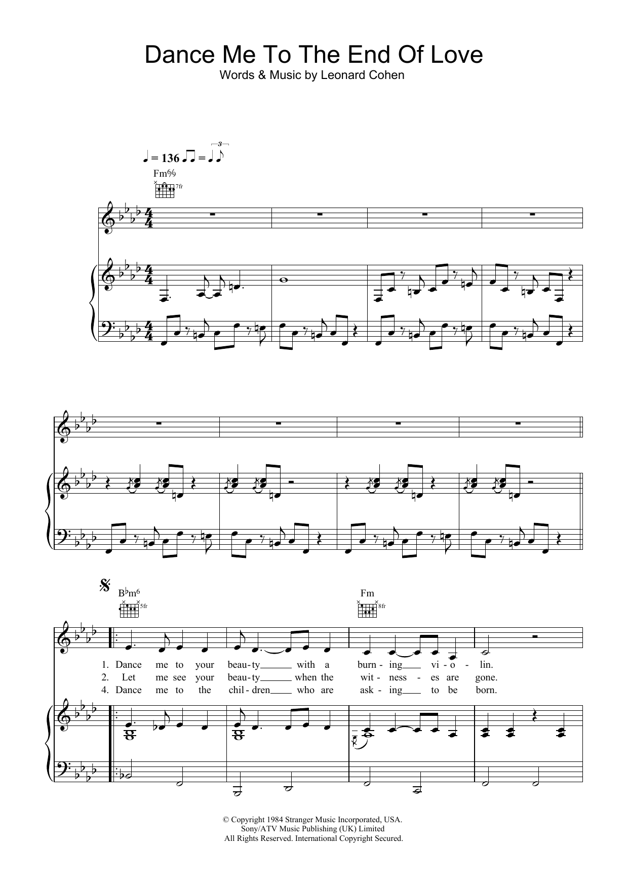 Dance Me To The End Of Love sheet music