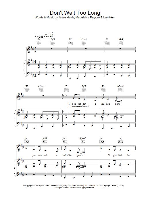 Don't Wait Too Long sheet music
