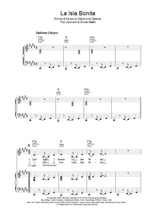 La Isla Bonita sheet music
