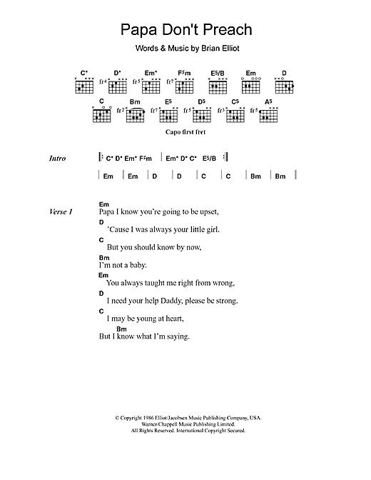 Papa Don't Preach sheet music