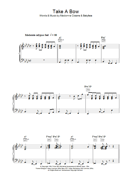 Take A Bow sheet music