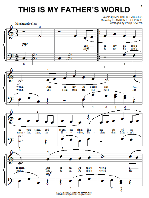 This Is My Father's World sheet music