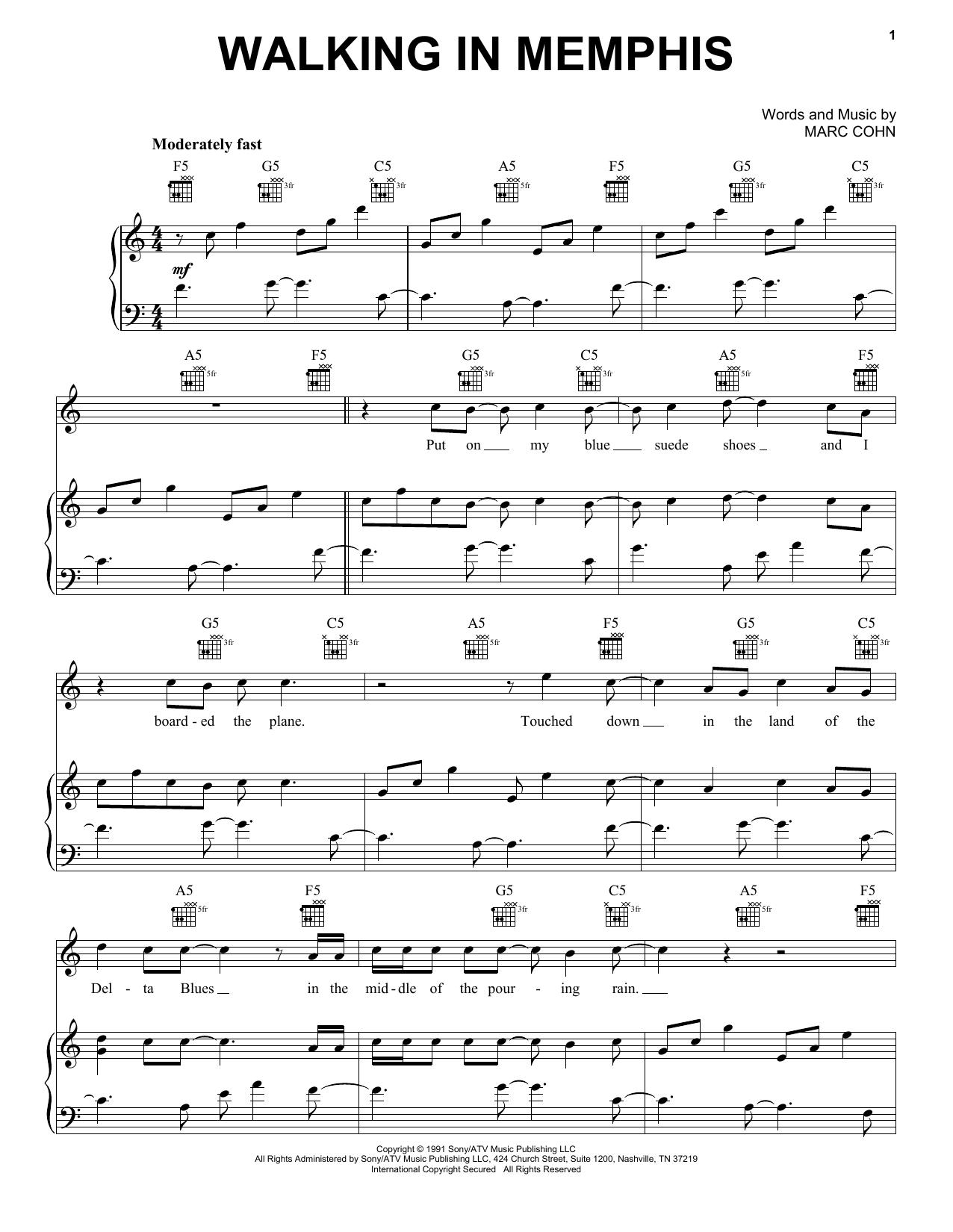 Walking In Memphis sheet music