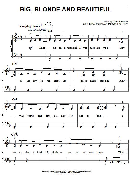 Big, Blonde And Beautiful sheet music