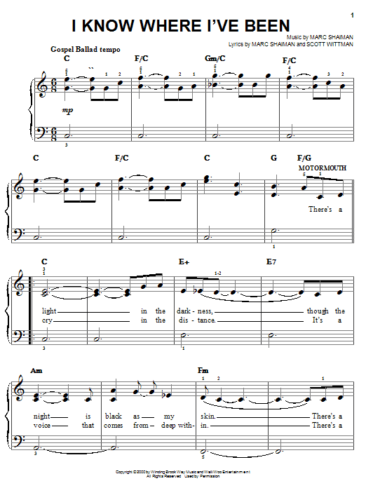 I Know Where I've Been (from Hairspray) sheet music