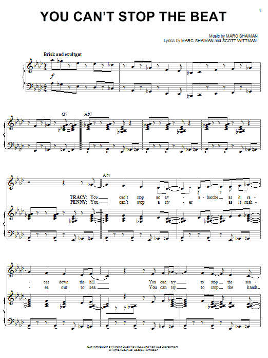 You Can't Stop The Beat sheet music