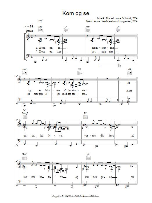 Kom Og Se sheet music