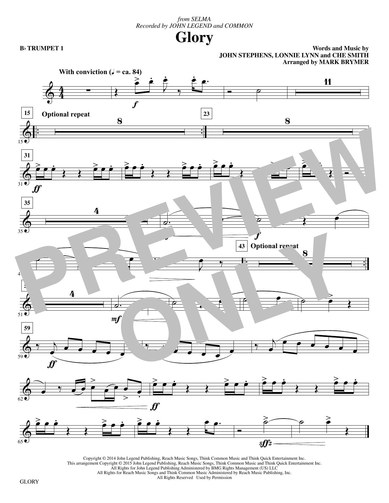 Glory - Bb Trumpet 1 sheet music