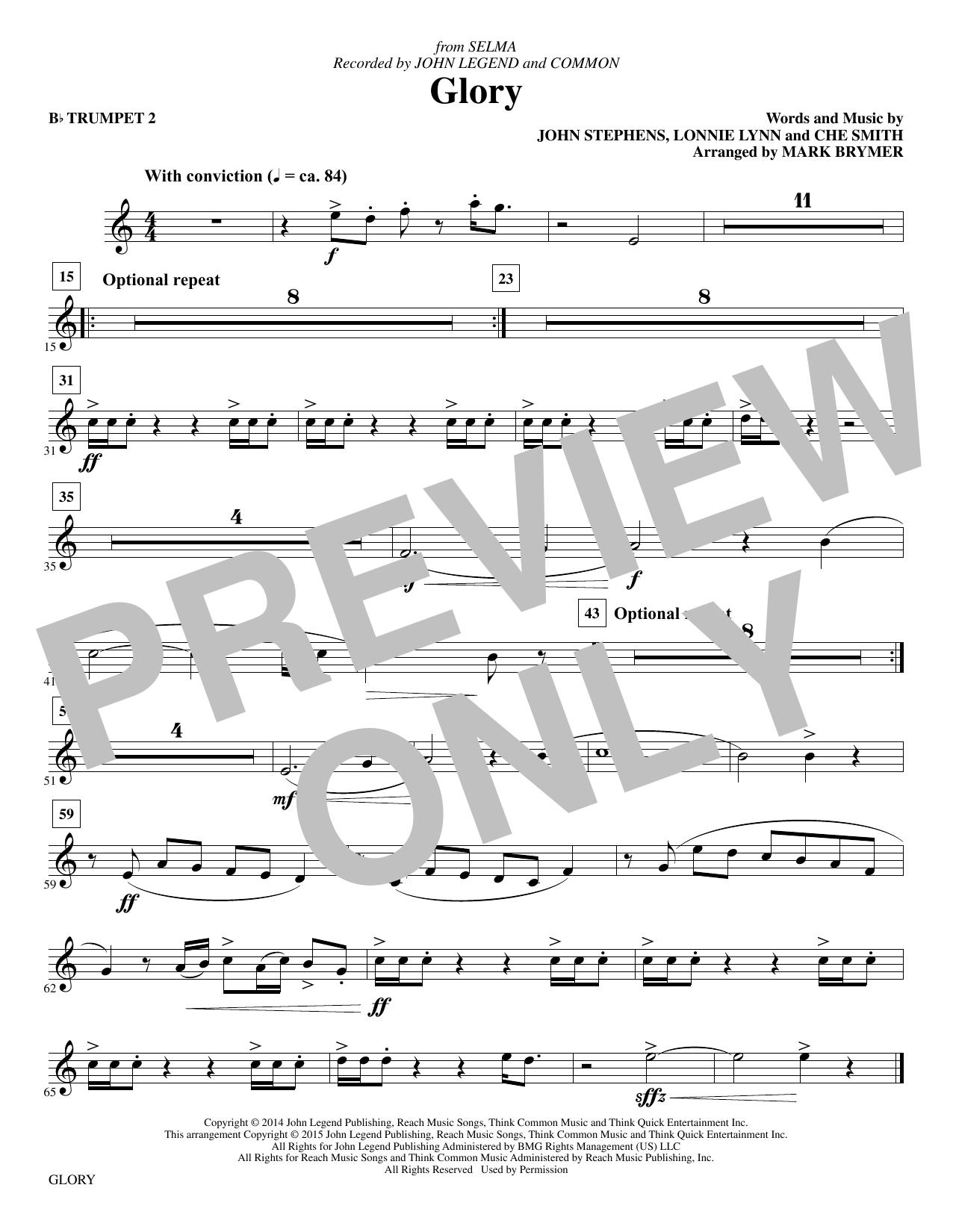 Glory - Bb Trumpet 2 sheet music