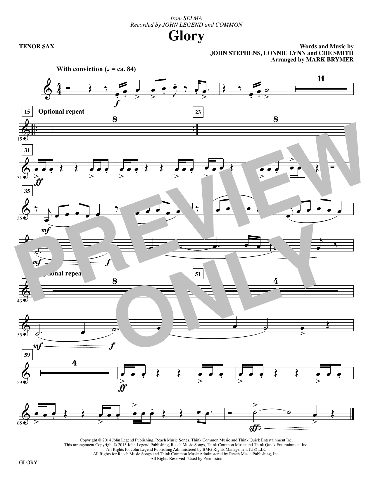 Glory - Tenor Saxophone sheet music