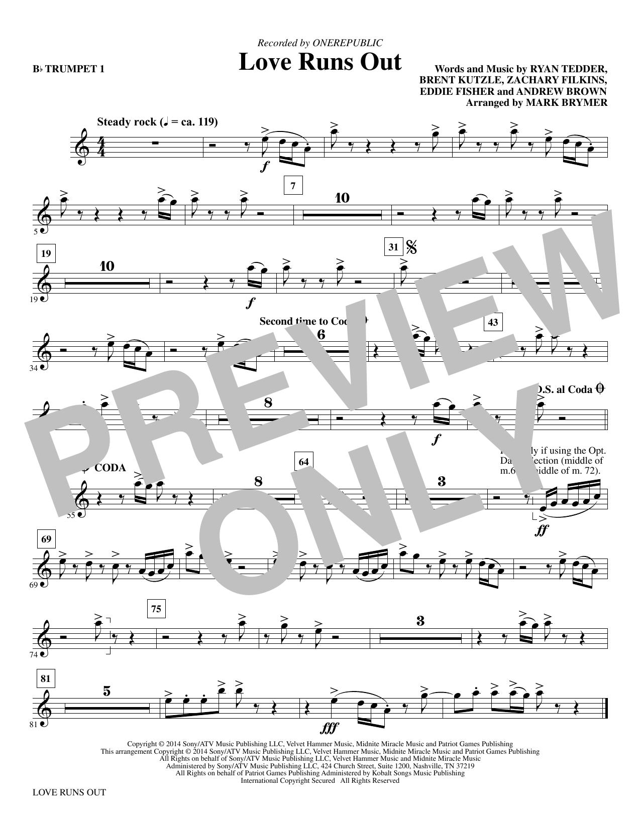 Love Runs Out - Bb Trumpet 1 sheet music