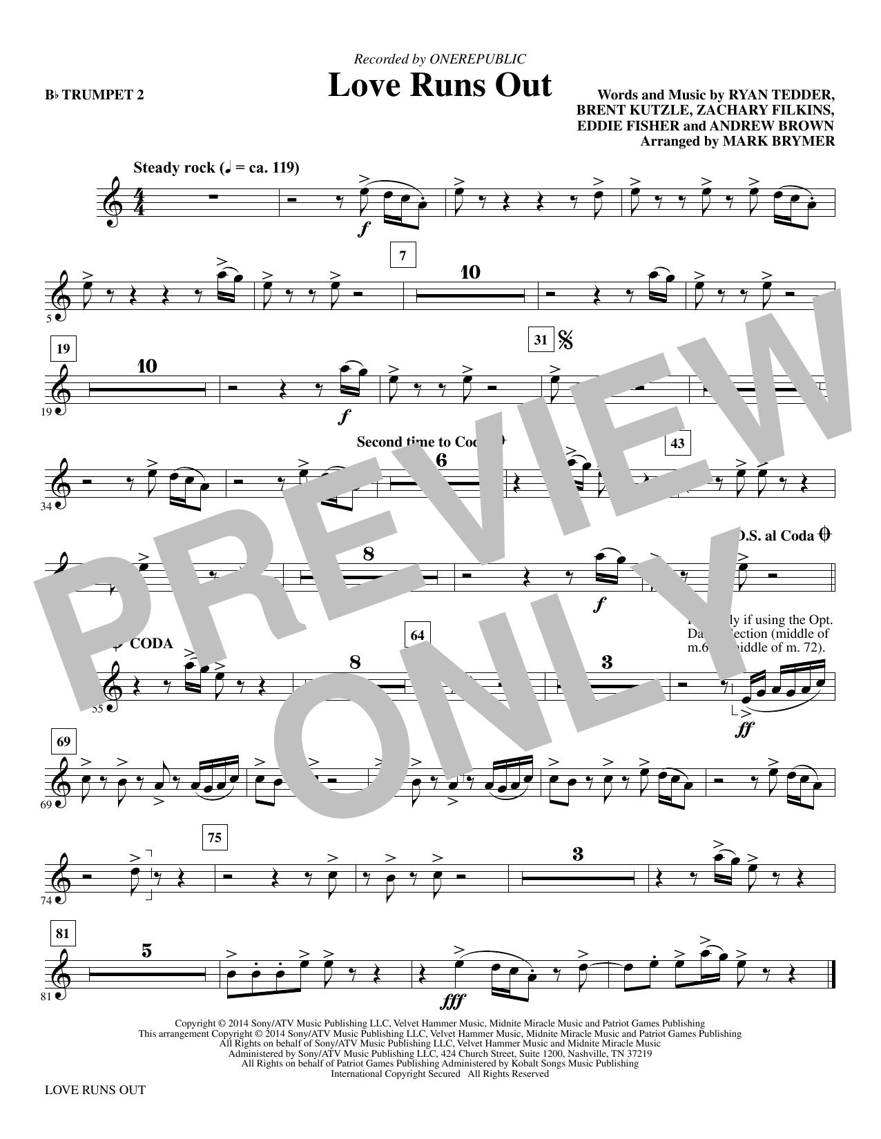 Love Runs Out - Bb Trumpet 2 sheet music