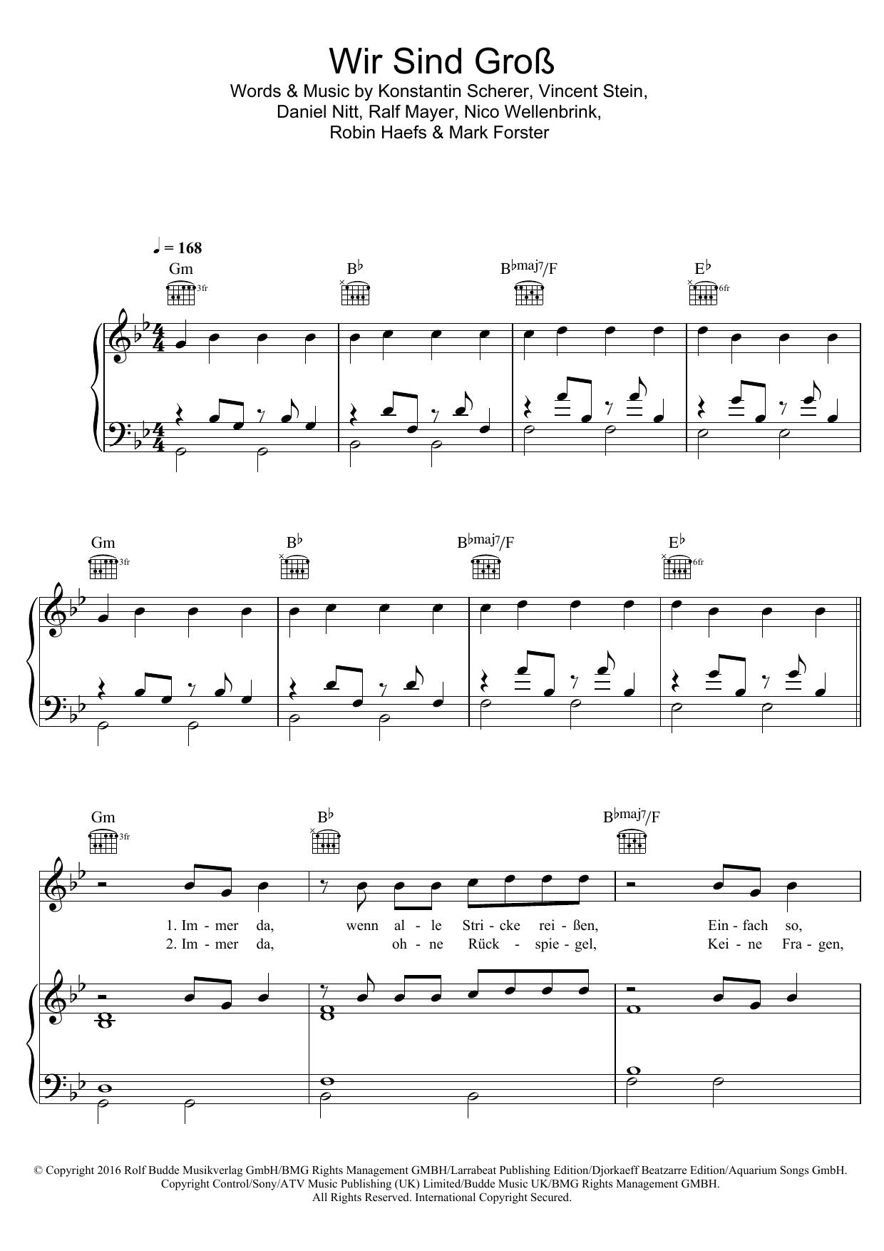 Wir Sind Gross sheet music