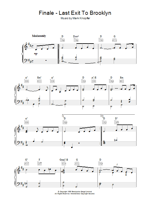 Finale - Last Exit To Brooklyn sheet music