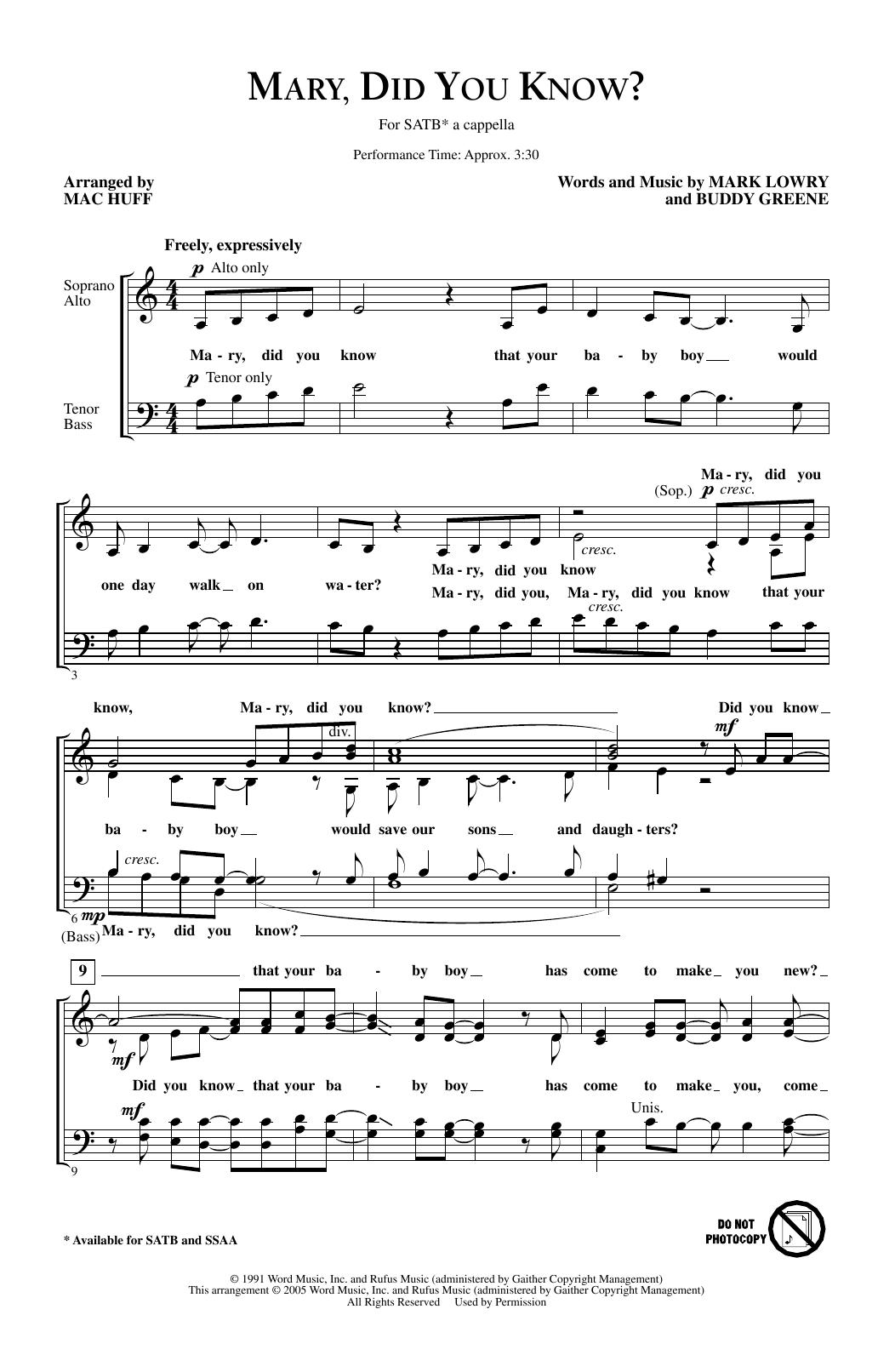 Mark Lowry Mary Did You Know Arr Mac Huff Sheet Music Download Pdf Score 188393