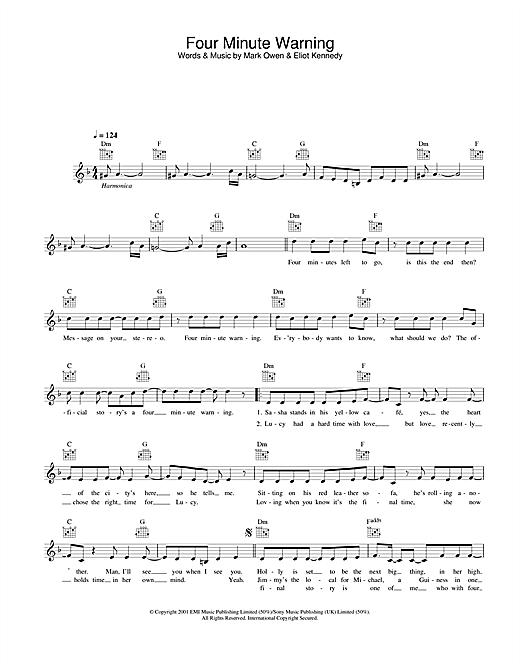 Four Minute Warning sheet music