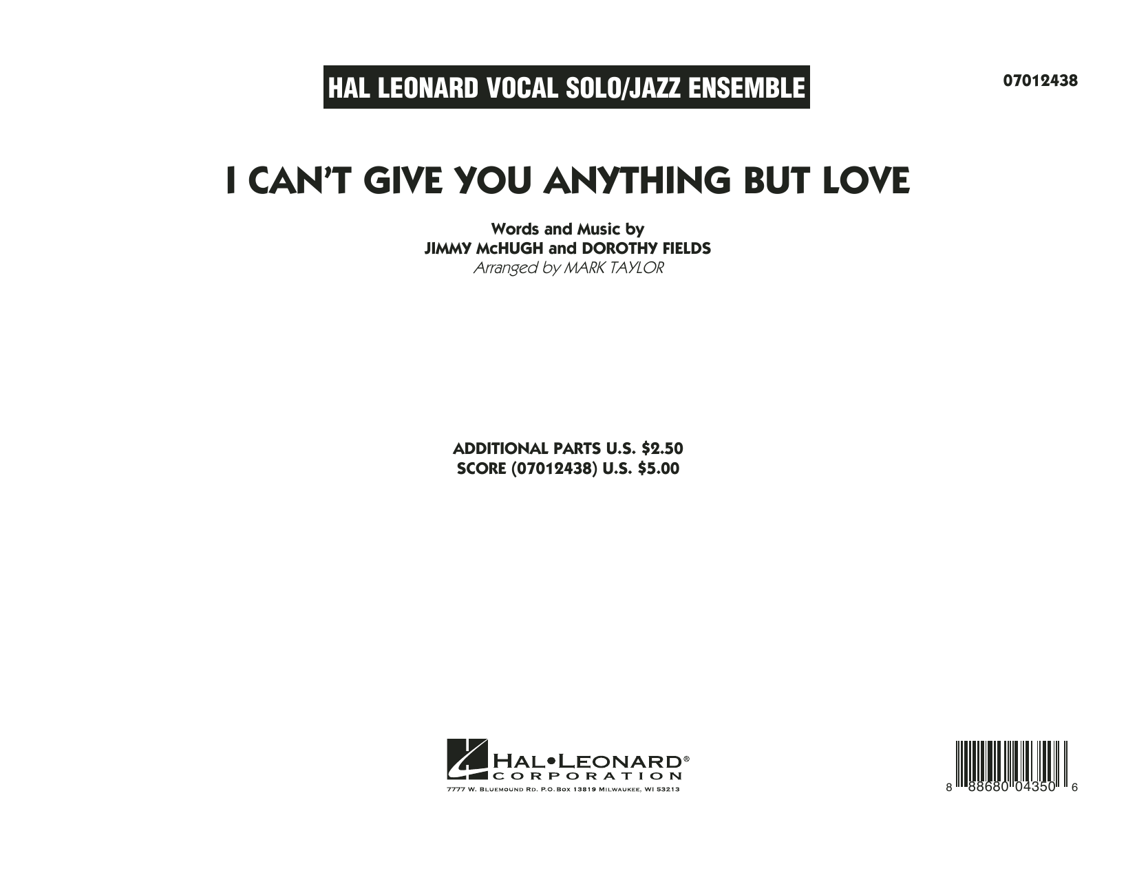 I Can't Give You Anything But Love (Key: B-flat) - Conductor Score (Full Score) sheet music