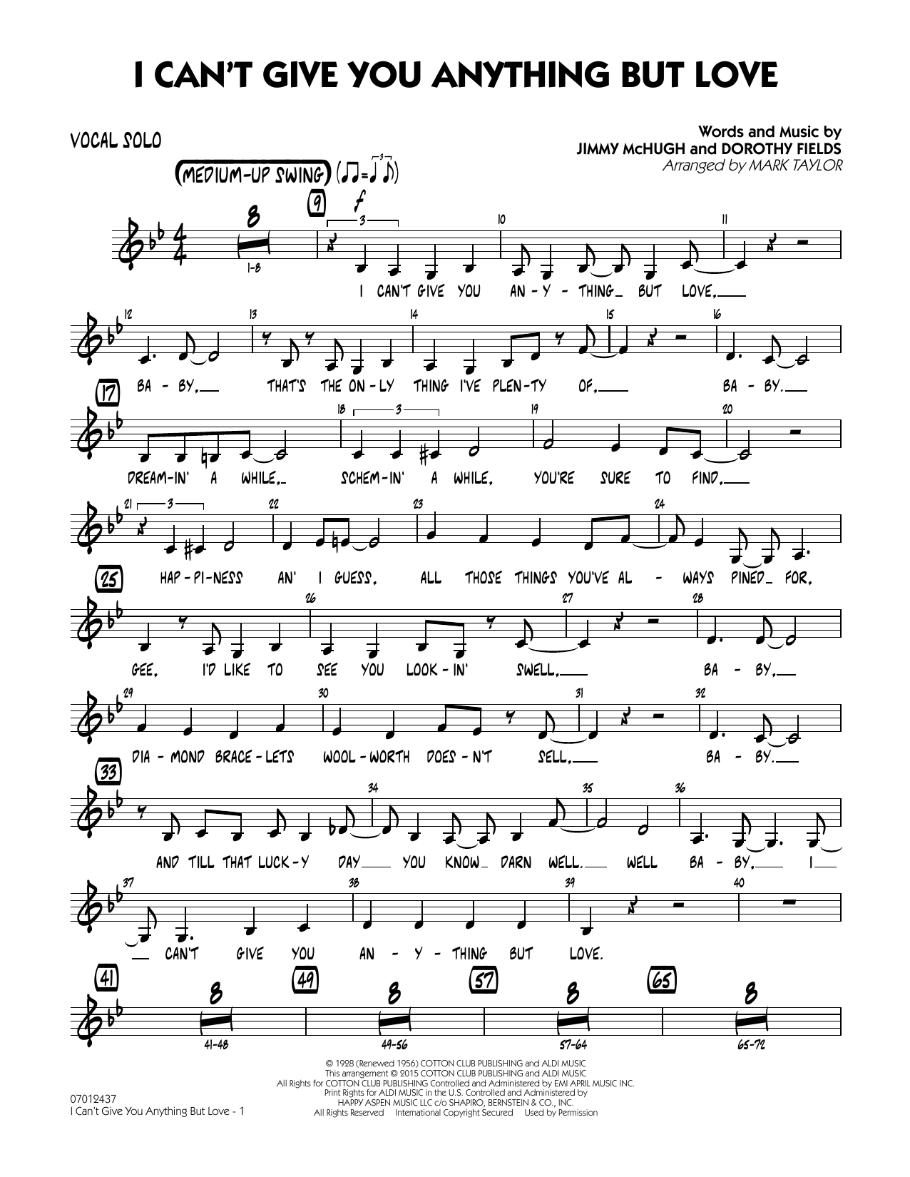 Mark Taylor 'I Can't Give You Anything But Love Key B flat   Vocal Solo'  Sheet Music Notes, Chords   Download Printable Jazz Ensemble   SKU 15
