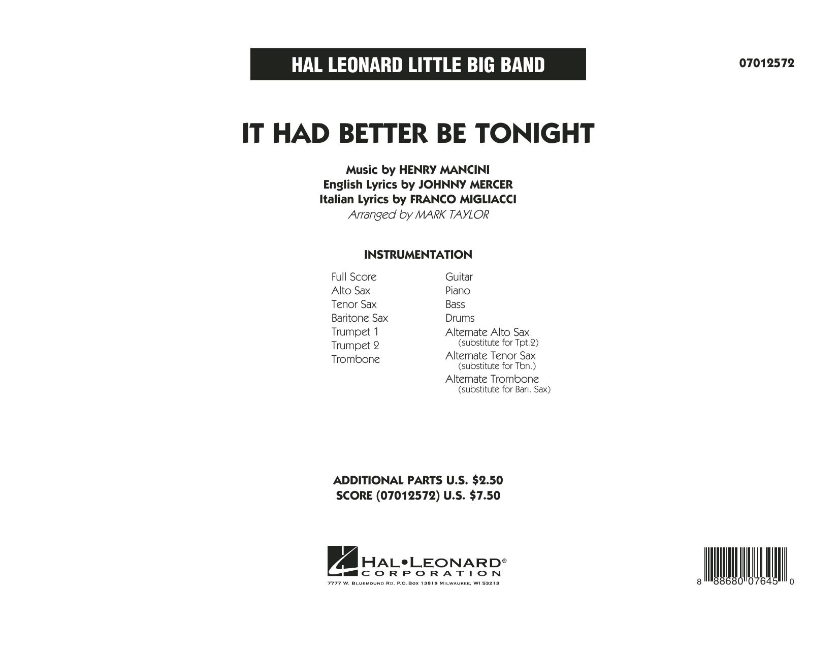 It Had Better Be Tonight - Full Score sheet music