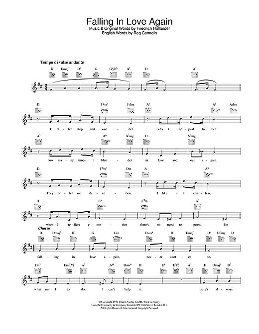 Falling In Love Again sheet music