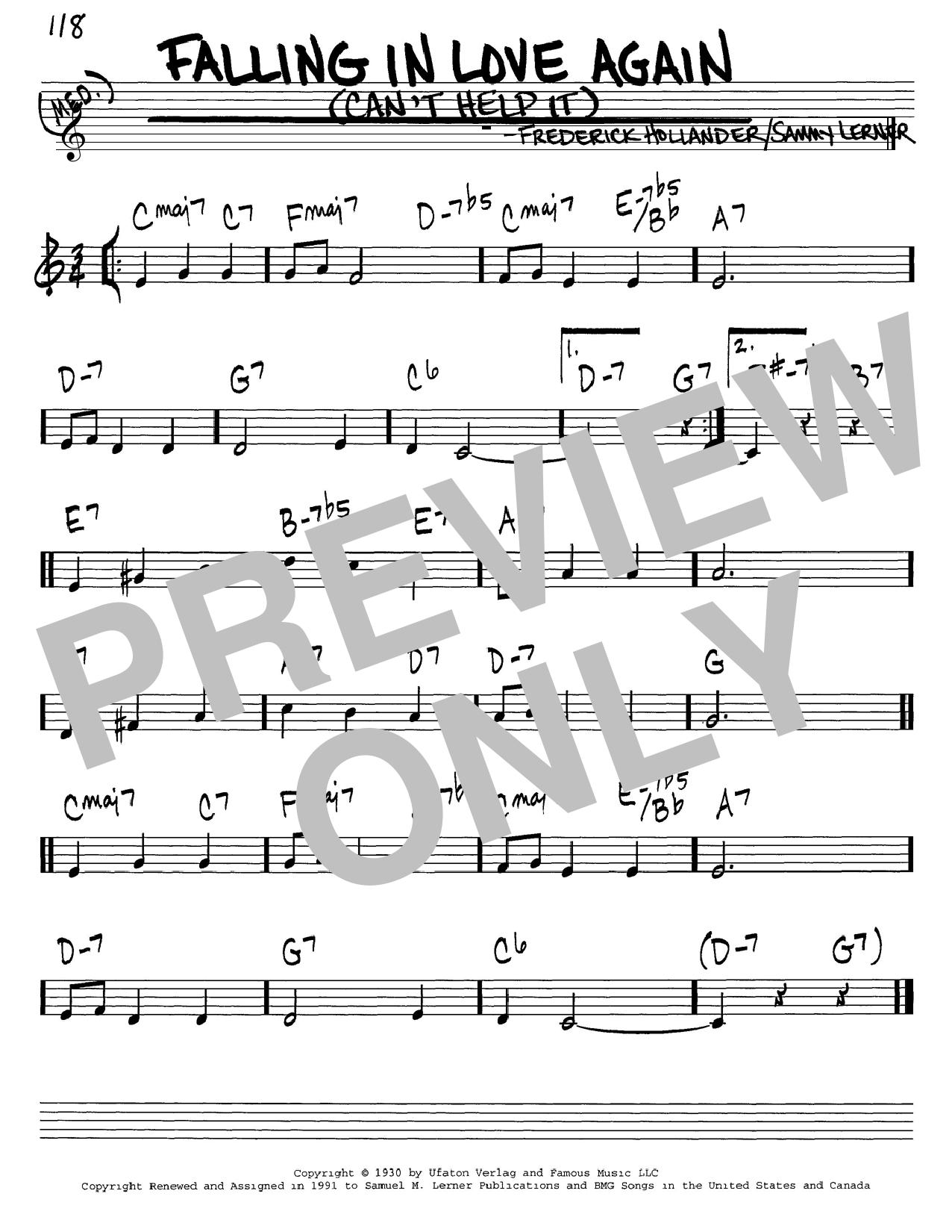 Falling In Love Again (Can't Help It) sheet music