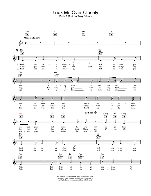 Look Me Over Closely sheet music