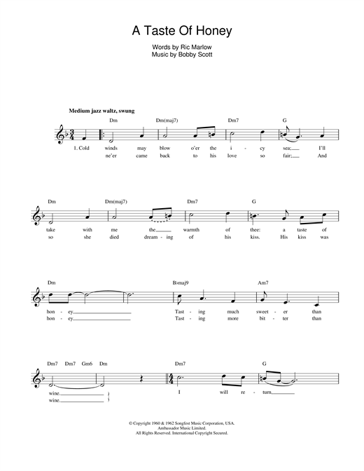 A Taste Of Honey sheet music