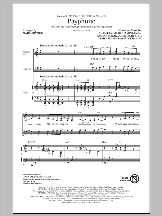 Payphone (arr. Mark Brymer) sheet music