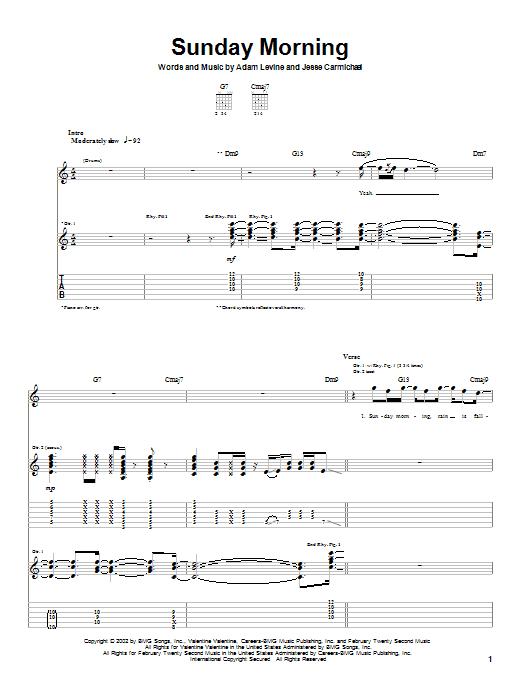 Sunday Morning sheet music